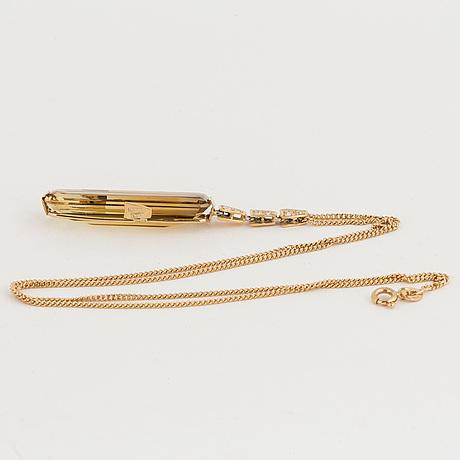 Citrine and brilliant-cut diamond pendant, with chain.