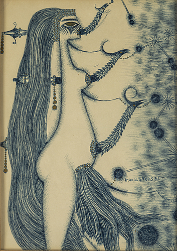 Max walter svanberg, drawing on paper signed and dated 61.