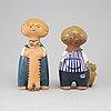 Lisa larson, figuriner, två stycken, keramik, gustavsberg.