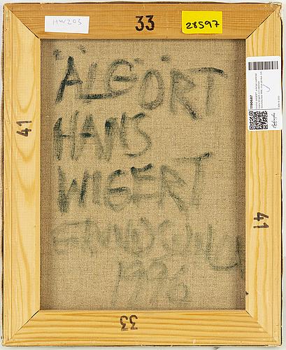 Hans wigert, verso signed hans wigert and dated grundsunda 1996, oil on canvas.