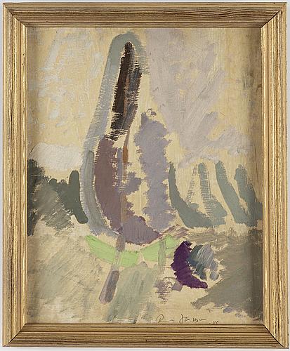 Rune jansson, olja på pannå, signerad och daterad -45.