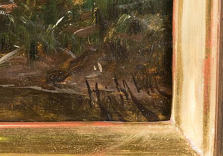 Hjalmar munsterhjelm, oil on board, signed.