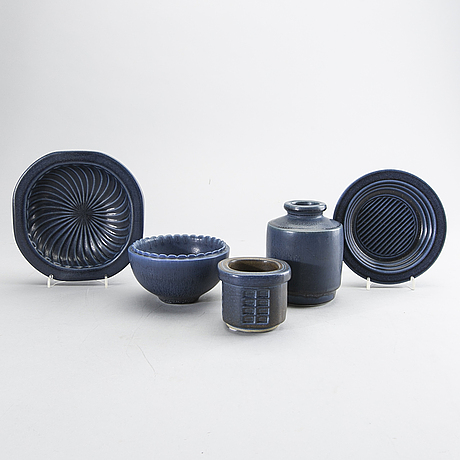 Wilhelm kÅge, a set of five stoneware vases and bowls.