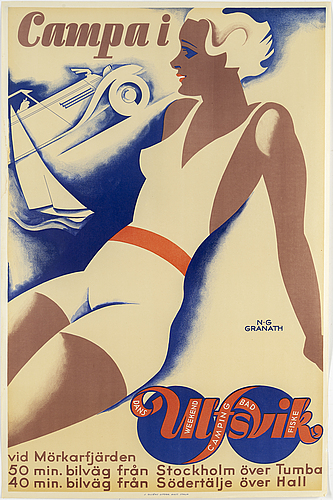 Nils gustaf granath, a vintage poster, j. olséns litogr. anst. sthlm, 1930's.
