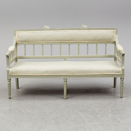 A sofa, armchair, a pair of chairs and a table. 5 parts. ca 1800 and later.