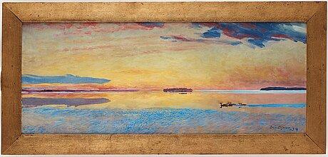 """Bruno liljefors, """"solnedgång vid havsbandet"""" (sunset above the vast sea)."""