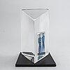 Bertil vallien, a st of two signed glass sculptures.