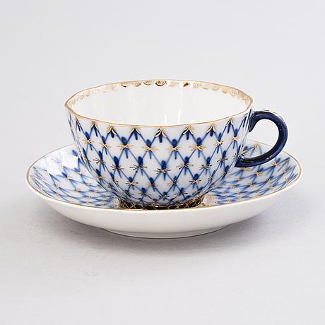 A 10-piece lomonosov 'cobalt net' porcelain tea set, made in ussr.