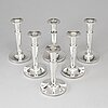 Six silver candle holders, ceson, gothenburg, 1965-87.