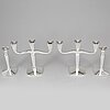 Four (2+2) silver candle holders and candelabras, germany, 20th century.