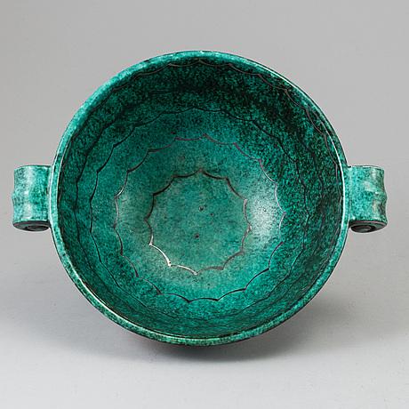 Wilhelm kÅge, an 'argenta' stoneware bowl, gustavsberg 1937.