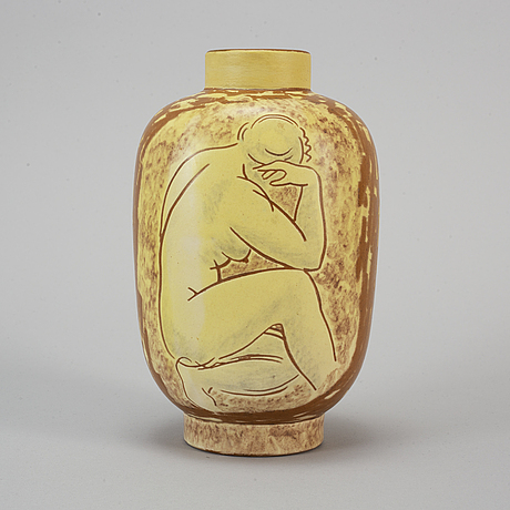 Vicke lindstrand, a ceramic vase, uppsala ekeby.