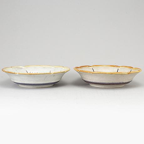 Maggie wibom, skålar, 2 st. lergods, bo fajans, 1920/30-tal.