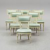 A set of six gustavian chairs, ca 1800.
