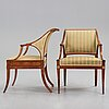 A pair of late gustavian armchairs, early 19th century.