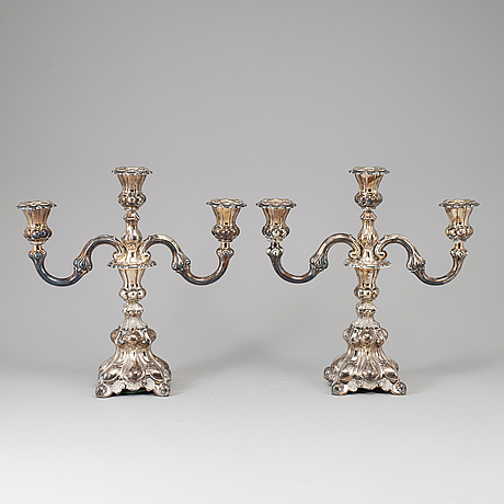 A pair of silver candelabras, swedish import mark. 20th century.