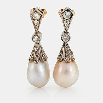 916. A pair of platinum and 18K gold pearl earrings set with old-cut diamonds.