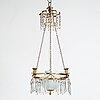 A late gustavian four-light hanging lamp, circa 1800.