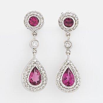 Brilliant-cut diamond and pink tourmaline earrings.