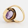 18k gold ring with oval faceted amethyst and seed pearls, gunnar fahlström.