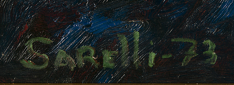 Paavo sarelli, oil on board, signed and dated -73.