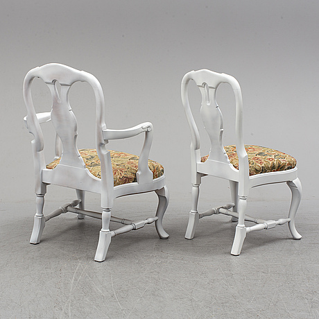 A set of six rococo style chairs, second half of the 20th century.
