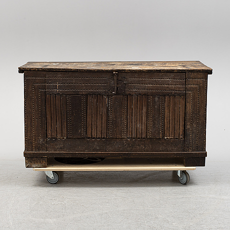 An oak chest, 18th century and later.