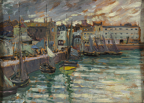 Pierre georges jeanniot, oil on panel, signed and dated 1901.