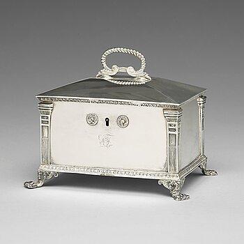 202. A Swedish 19th century silver sugar-casket, mark of Gustaf Mollenborg, Stockholm 1827.