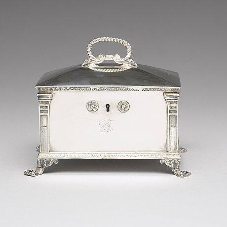 A swedish 19th century silver sugar-casket, mark of gustaf mollenborg, stockholm 1827.