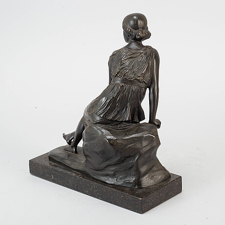 Walter schulze-thewi, sculpture, bronze, signed.