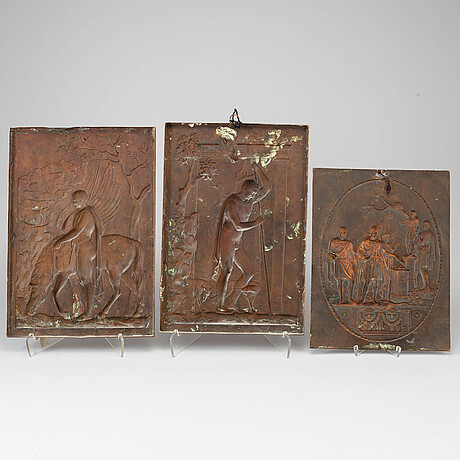 Three copper decor elements, ca 1900.