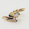18k gold, enamel, brilliant-cut diamond and ruby bird brooch.