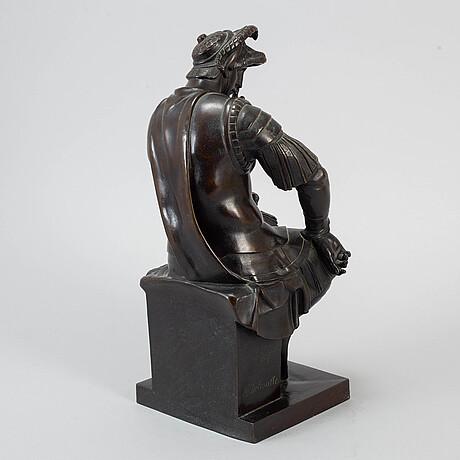 J. delasalle, sculture, bronze, signed after an original by michelangelo.
