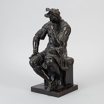 J. DELASALLE, sculture, bronze, signed after an original by Michelangelo.
