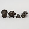 Three japanese bronze vases/incense burners, 20th century.