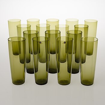 TAPIO WIRKKALA,  A 16-piece set of juice glasses, model 2204 for Iittala. In production 1956-1969.