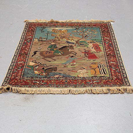 A rug, an old pakistan figural, ca 171 x 125 cm (as well as 1,5 cm flat weave at the ends).