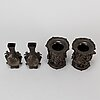 Two pair of japanes bronze vases/incense burners, meiji (1868-1912) and early 20th century.