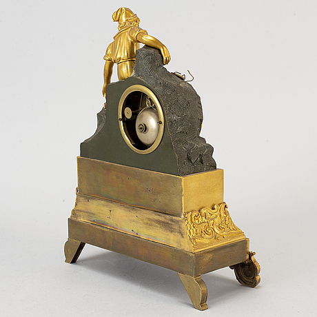 Bordspendyl, förgylld och patinerad brons, 1800-talets mitt.