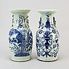 Two blue and white and celadon ground vases, qing dynasty, circa 1900.