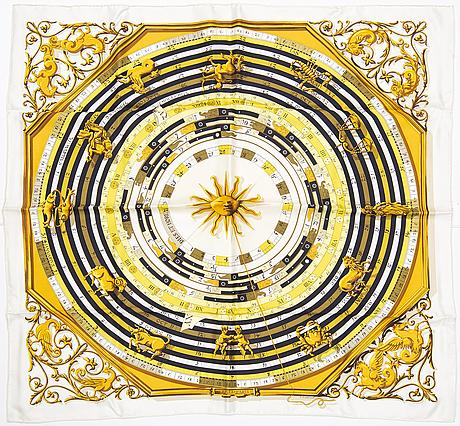 "HermÈs, a ""dies et hore'/'astrologie' silk scarf."