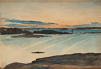 394. Carl Wilhelmson, Summer night, scene from Fiskebäckskil on the west coast of Sweden.