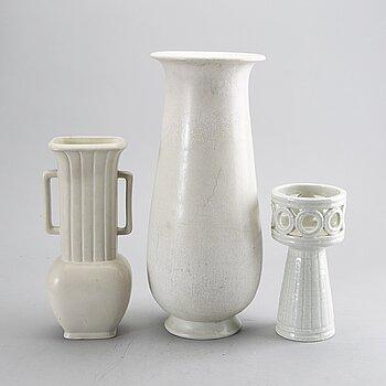GUNNAR NYLUND, three stoneware vases , Rörstrand.