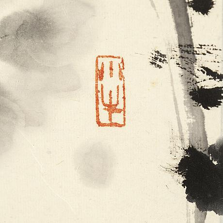 RullmÅlning, tusch och färg på papper. kina, signerad gong yin (1937-).