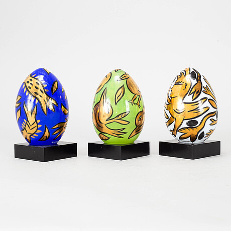Ulrica hydman-vallien, 3 glass sculptures, signed and numbered, kosta boda.