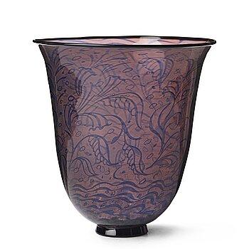 """1. Edward Hald, & Knut Bergqvist (glassblower) a """"graal"""" vase Orrefors, Sweden 1925."""