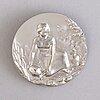 A commemorative platinum 999/1000 medallion, carl xvi gustaf, king of sweden 1973, numbered 43/50, marked p. lunde -73.