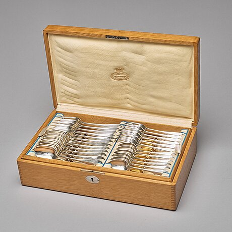 A swedish 49 piece silver table-cutlery, mark of gustaf mollenborg, stockholm 1906.