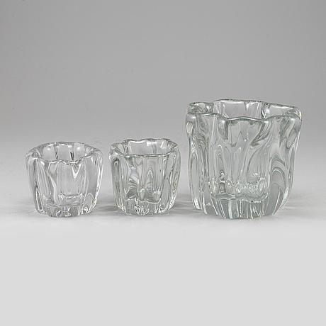 Tapio wirkkala, three  'kalvolan kanto' glas vases from iittala, finland.